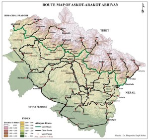 Askot Arakot 2014 Schedule Map in English